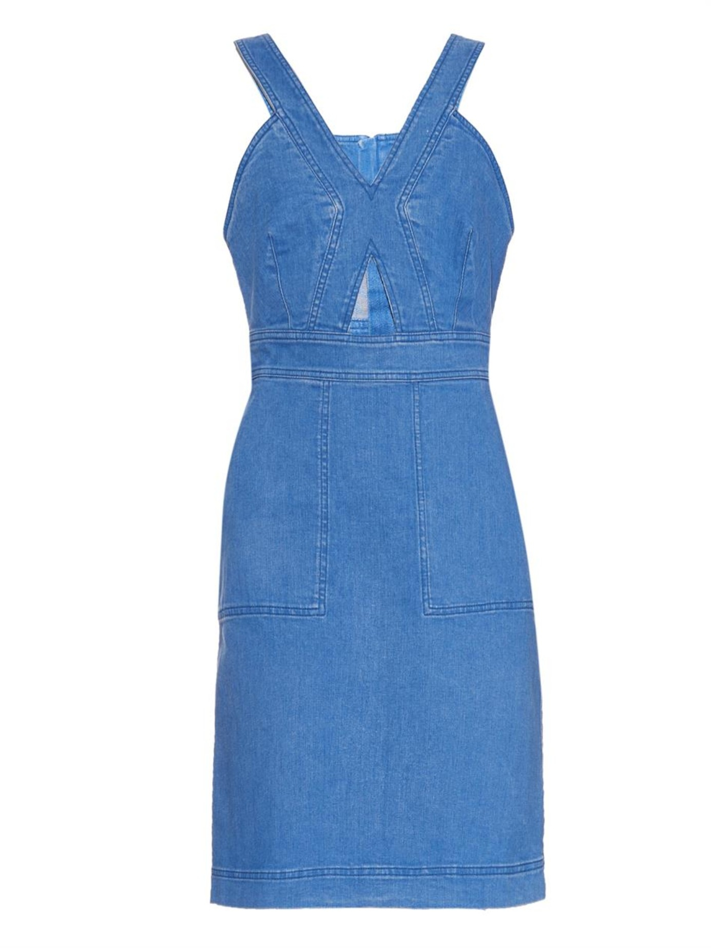 Stella Mccartney Woman Cutout Stretch-denim Dress Mid Denim Size 50 Stella McCartney nY2kEi6