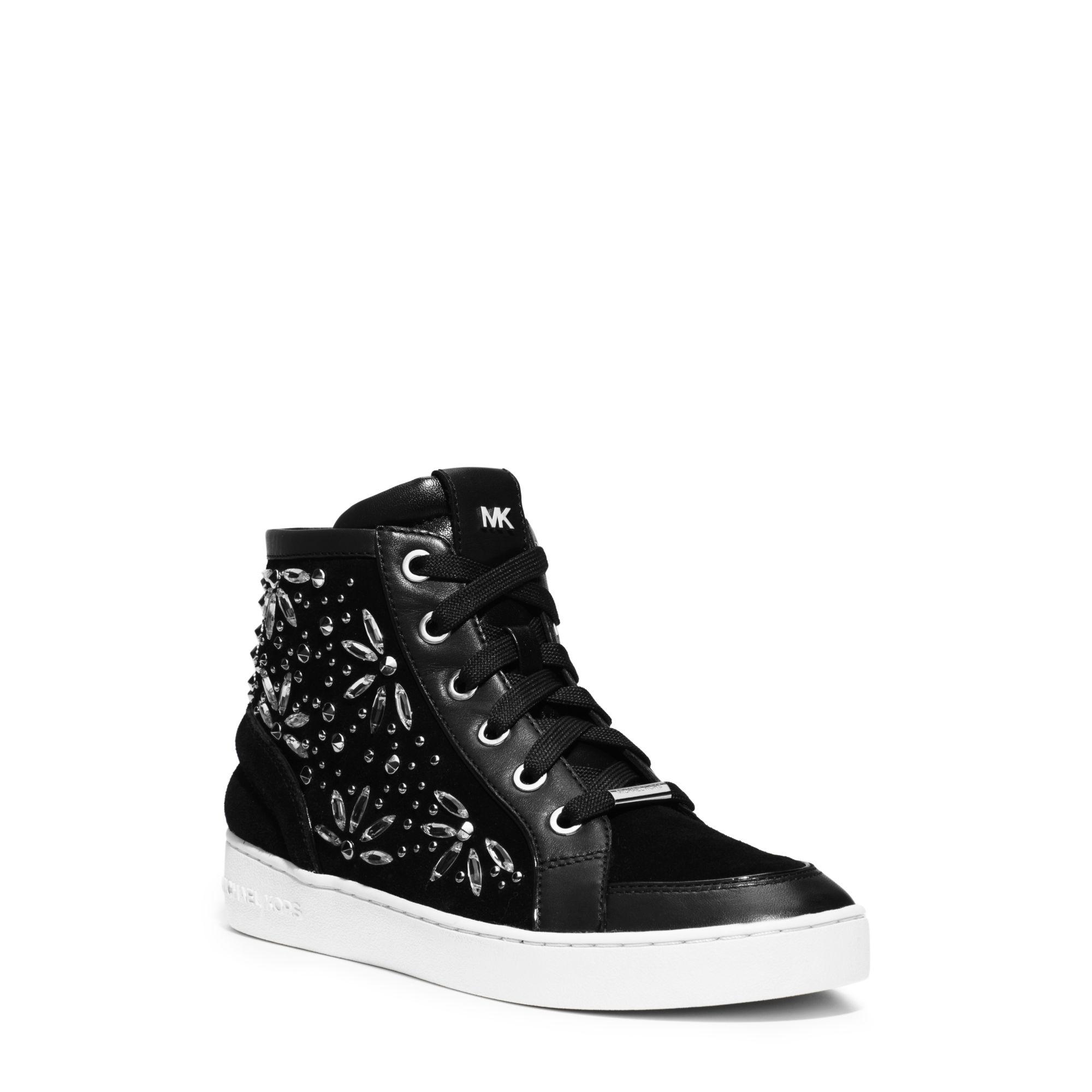 michael kors nadine embellished suede high top sneaker in black lyst. Black Bedroom Furniture Sets. Home Design Ideas