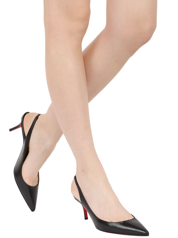best website db178 d1caa Women's Black 70Mm Apostrophy Leather Slingback Court Shoes
