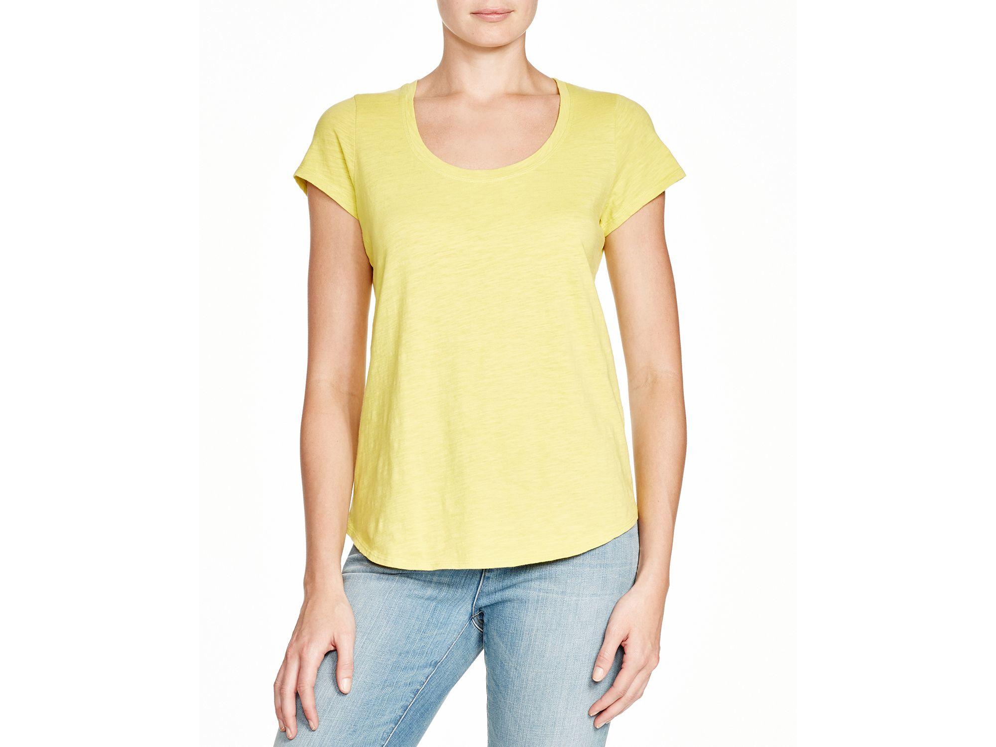 Eileen fisher organic cotton scoop neck tee in yellow for Eileen fisher organic cotton t shirt