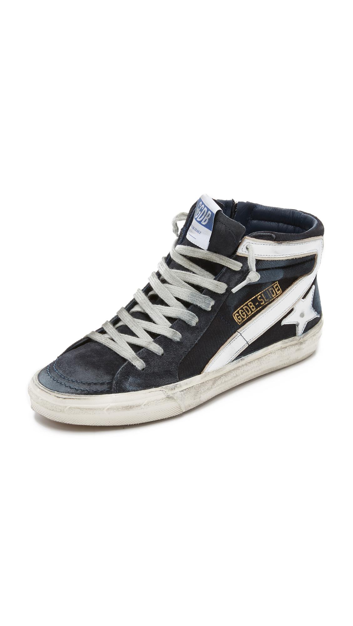 Golden Goose Navy Denim Slide High-Top Sneakers 8YbIpqCUtO
