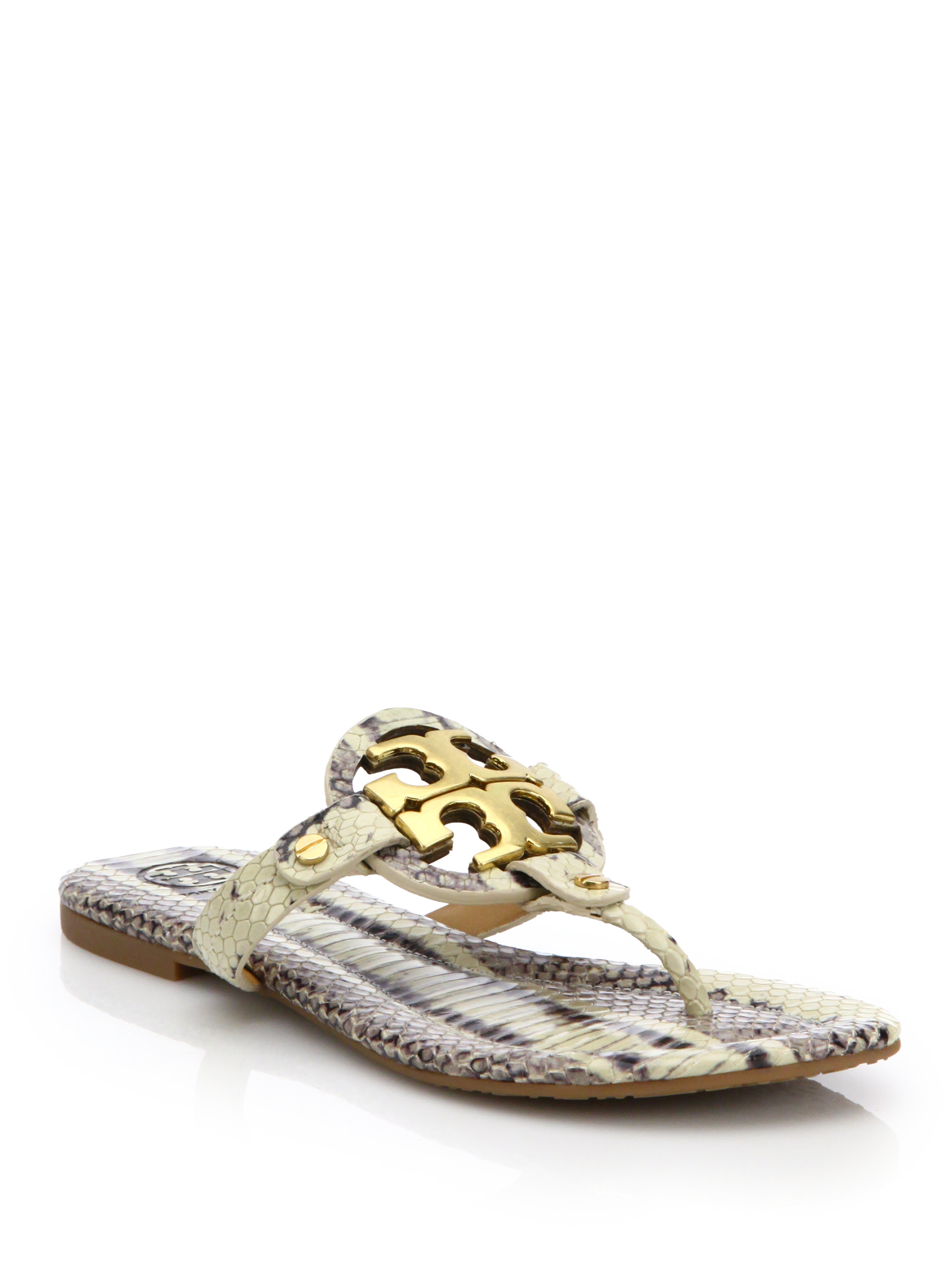 f8f400f1c ... denmark lyst tory burch miller snake embossed leather logo thong sandals  7361d a9fa4