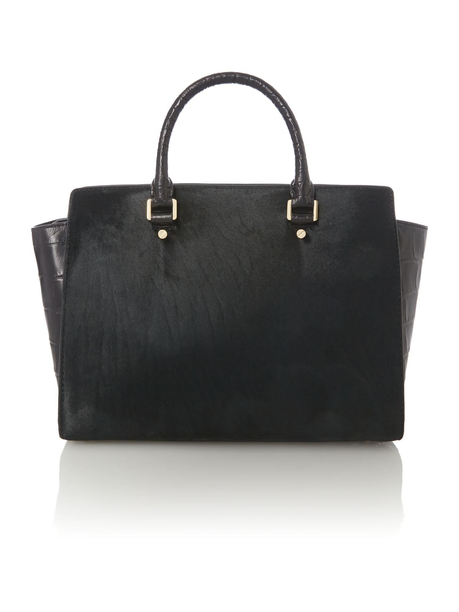 Lyst Michael Kors Selma Black Haircalf Large Tote Bag In