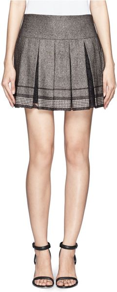 diane furstenberg lace insert pleated tweed mini skirt