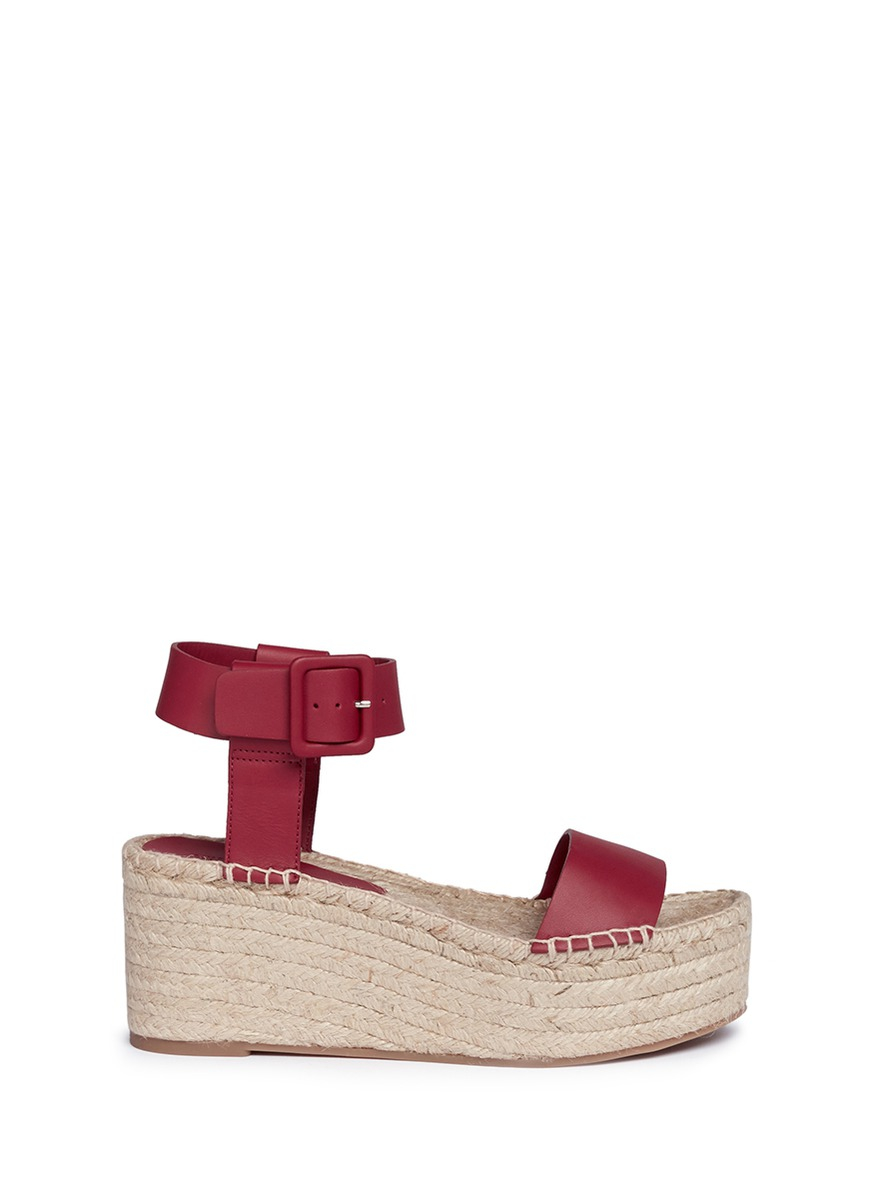 136a0f8a488b Lyst - Vince  abby  Leather Espadrille Platform Sandals in Purple