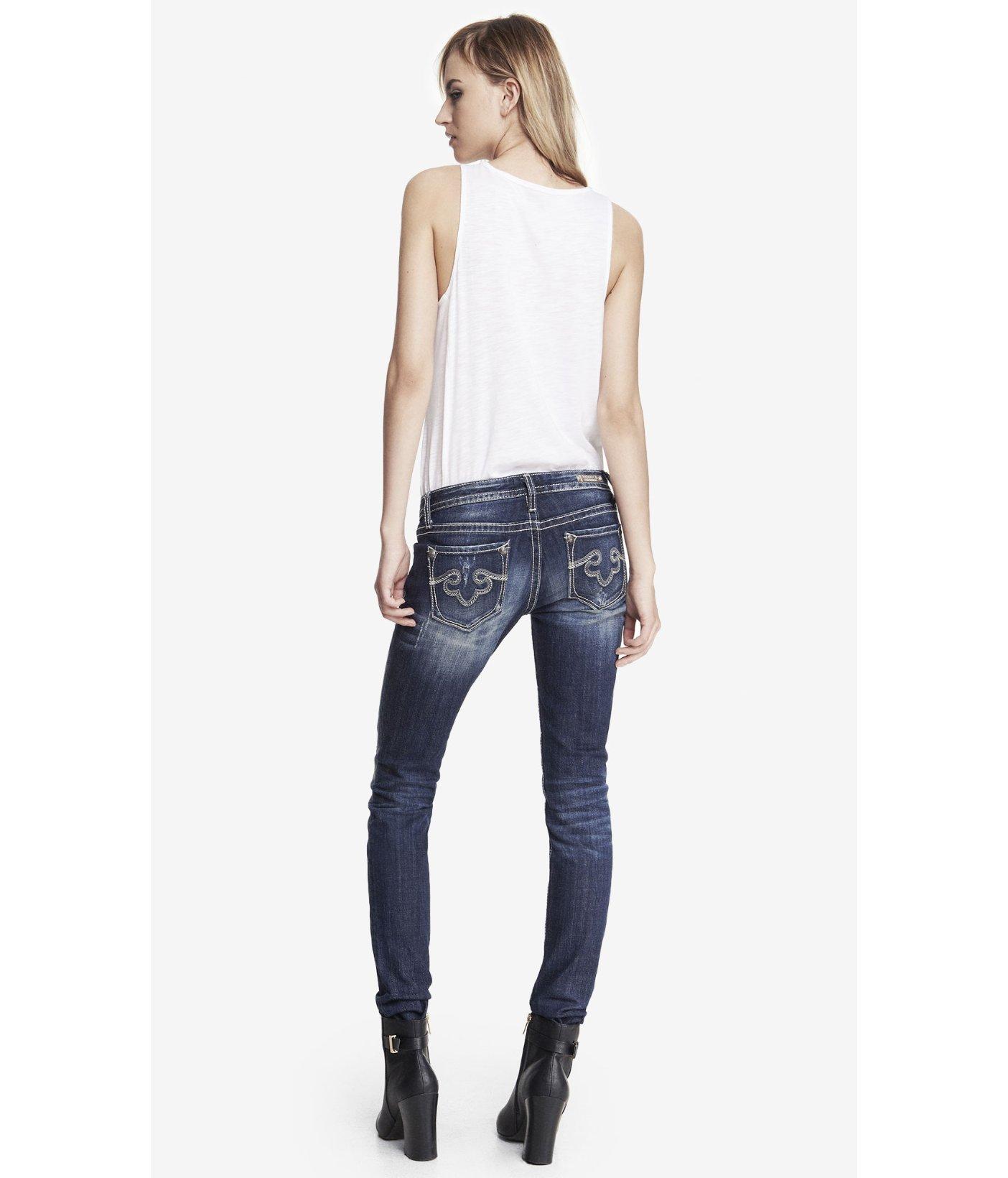 Lyst express rerock skinny leg jean in blue for Express wash roma