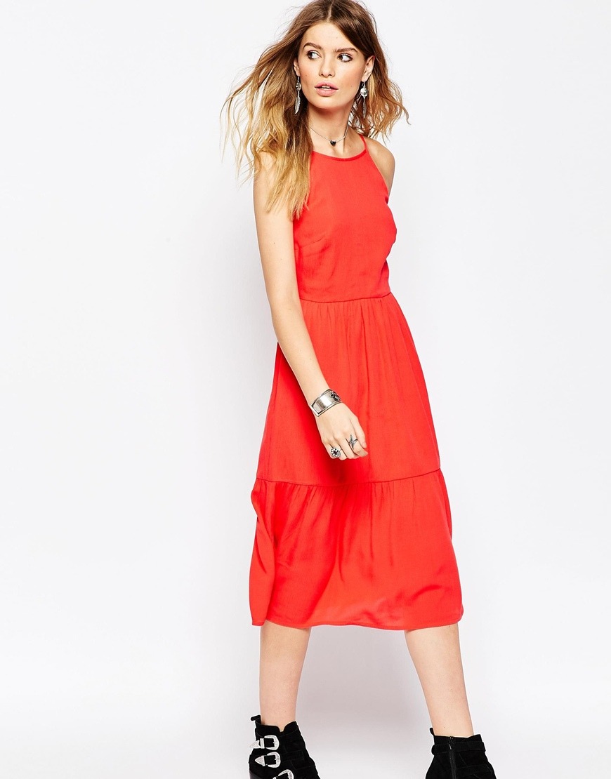 ab7b84bd54e Lyst - ASOS Tiered Midi Sundress in Red