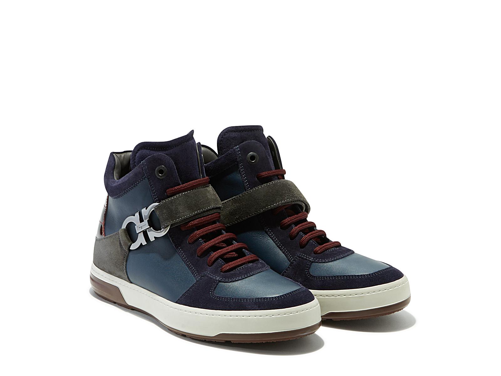 ferragamo high top sneaker in blue for men navy lyst. Black Bedroom Furniture Sets. Home Design Ideas