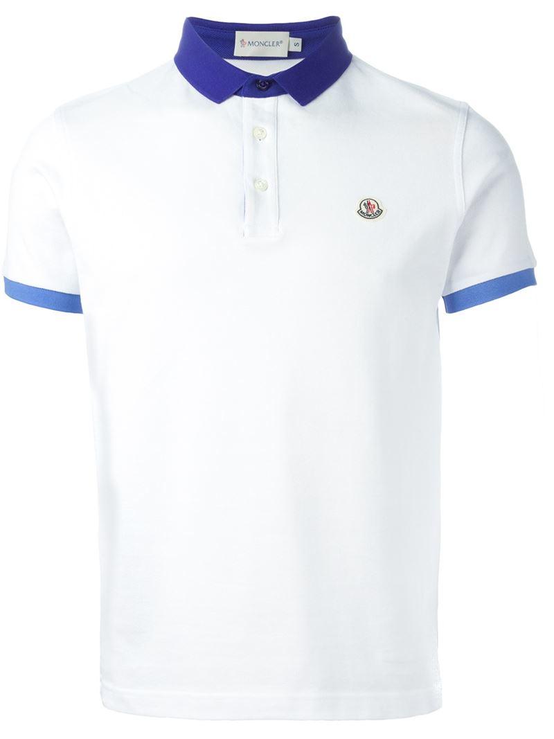 5a3381ce6 Moncler White Contrast Collar Polo Shirt for men