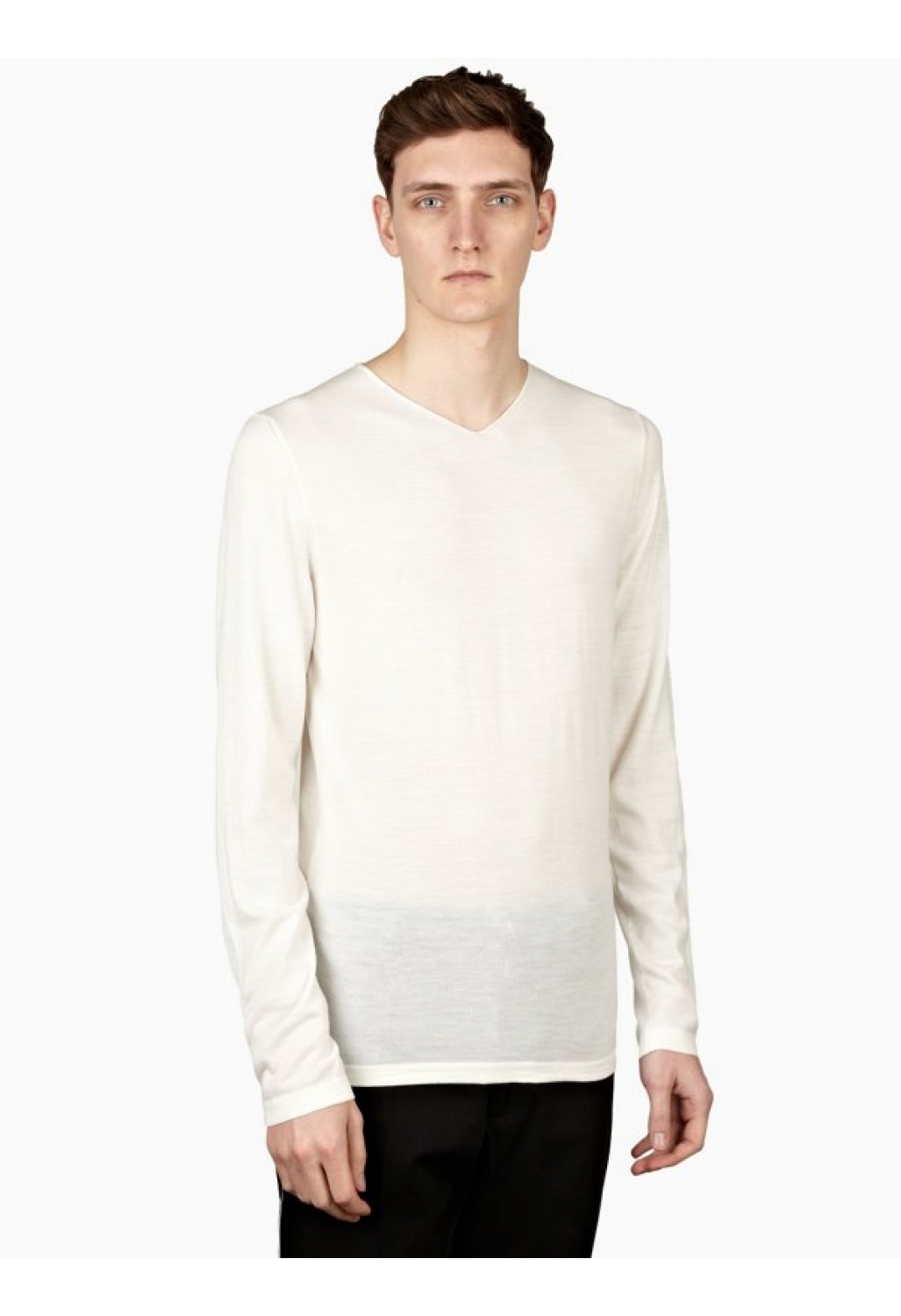 jil sander mens white classic v neck sweater in beige for. Black Bedroom Furniture Sets. Home Design Ideas