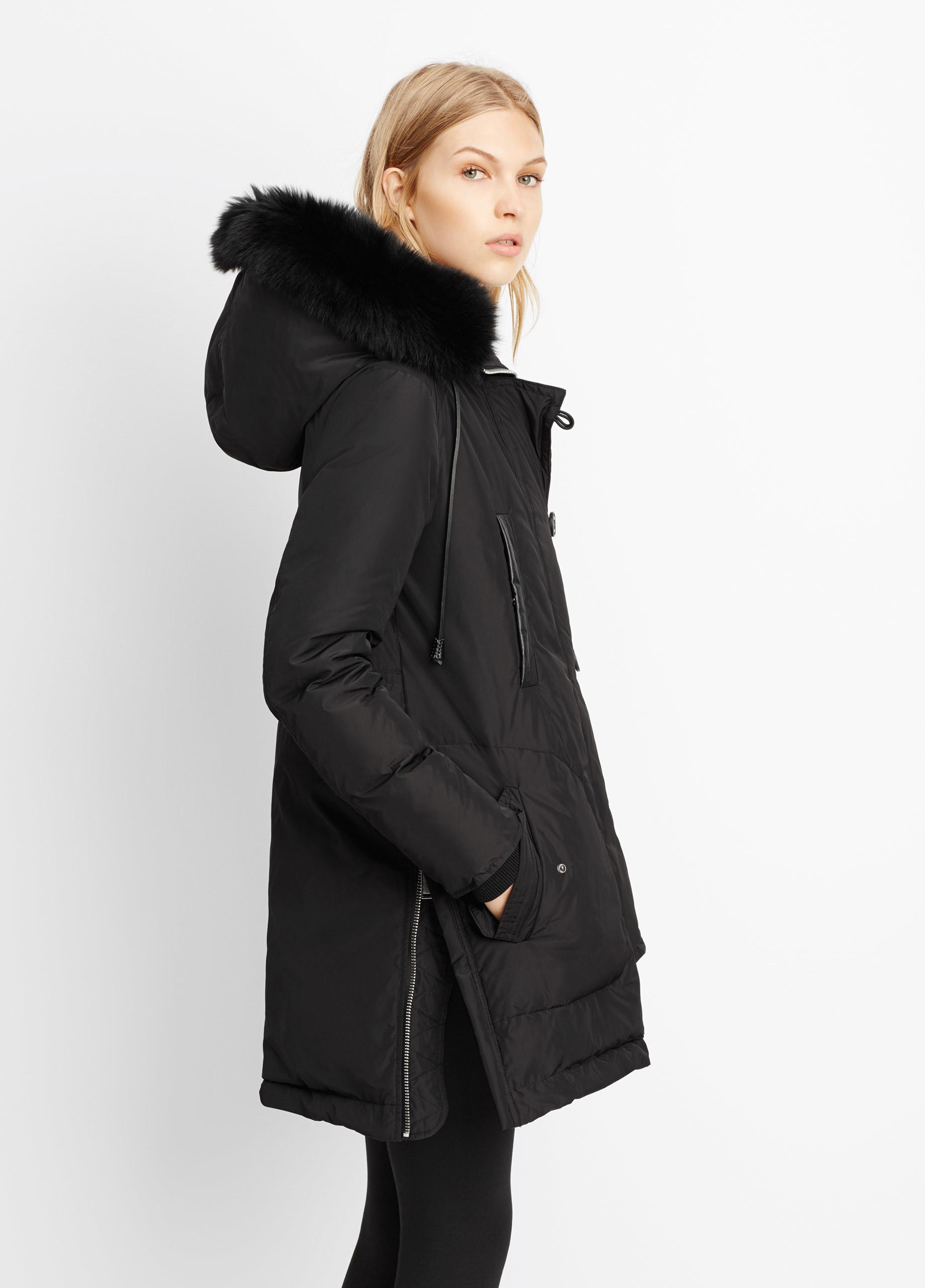 Black Hooded Fur Parka