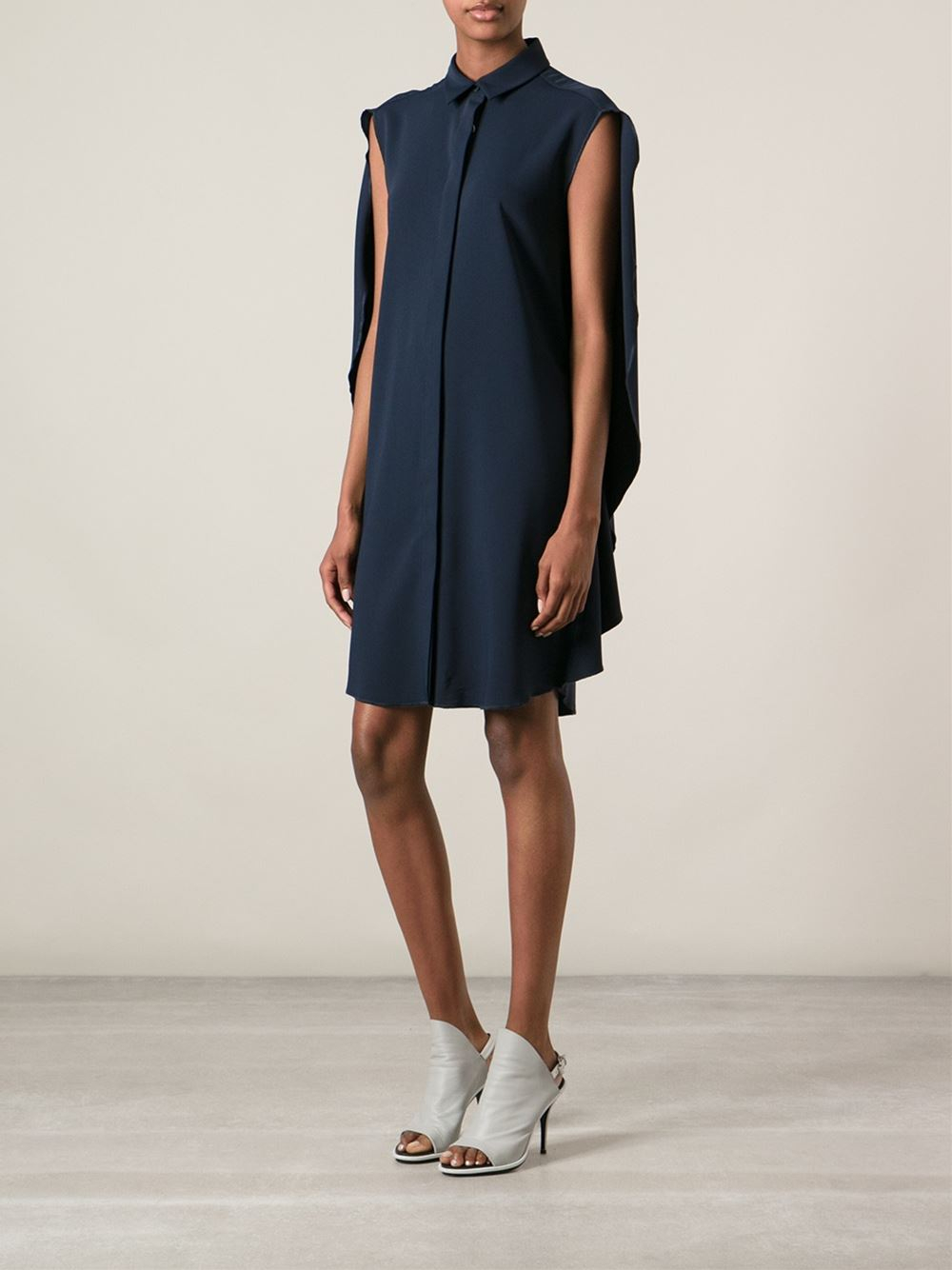 Lyst mm6 by maison martin margiela cape back dress in blue for Fashion maison