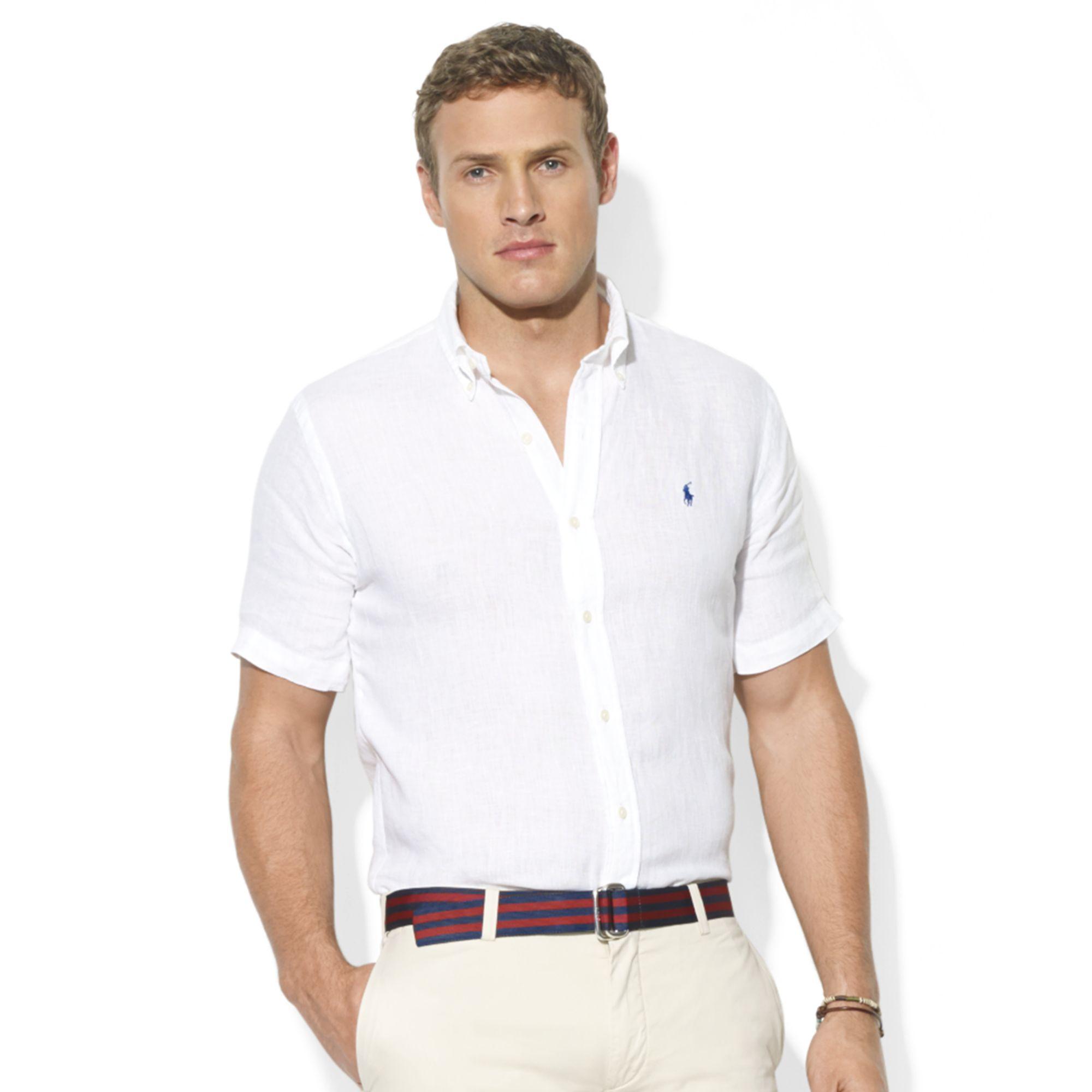 014d9ce7 Ralph Lauren Classic Fit Short Sleeve Solid Linen Sport Shirt in ...