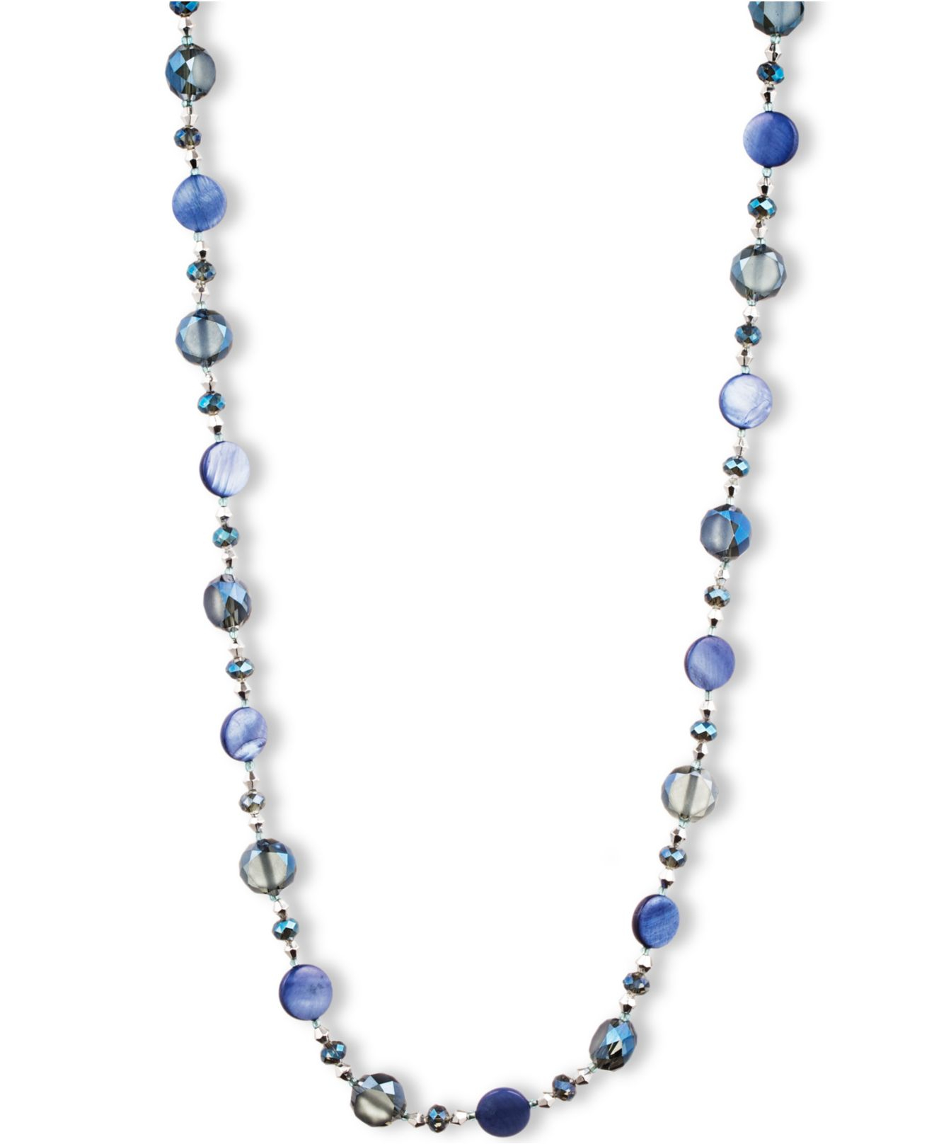 lyst jones new york silver tone mixed crystal bead long. Black Bedroom Furniture Sets. Home Design Ideas