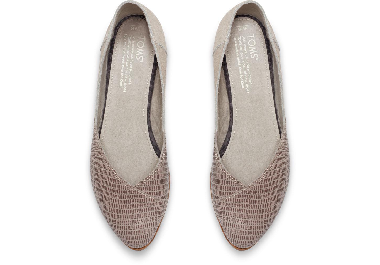 655777caa TOMS Grey Suede Emboss Women's Jutti Flats in Gray - Lyst
