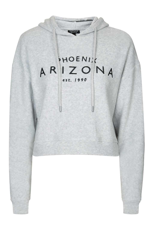Hoodie Brushed In Petite Lyst Leather gray Arizona - Grey Topshop Marl