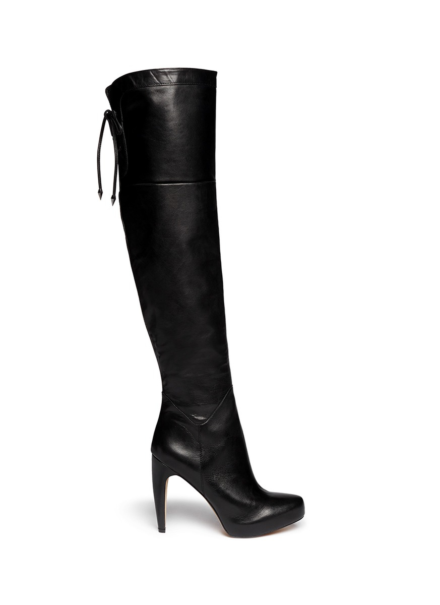 Sam edelman 'kayla' Thigh High Leather Boots in Black | Lyst