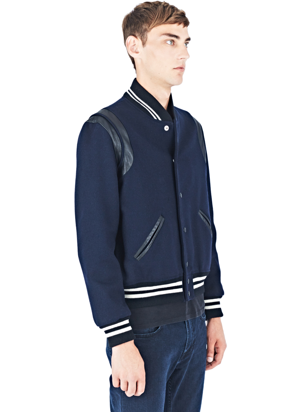353d25ee25c Saint Laurent Men's Teddy Bomber Jacket In Navy in Blue for Men - Lyst
