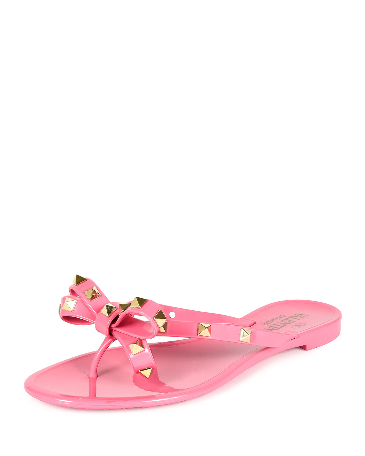 4363773bf5e4 Lyst - Valentino Rockstud Thong Sandals in Pink