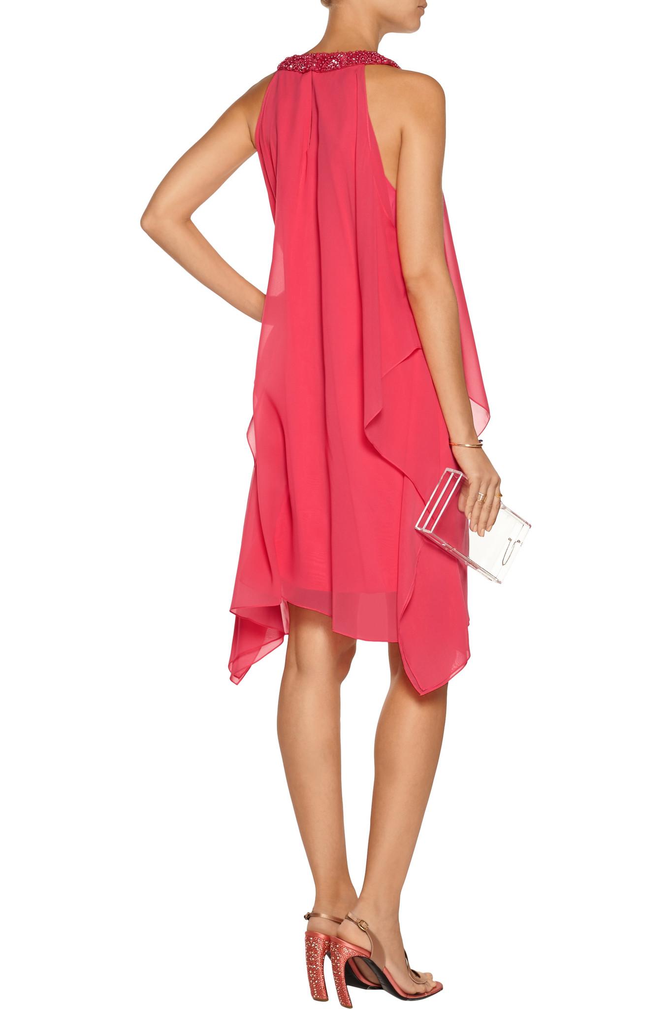 Badgley Mischka Cutout Chiffon Dress In Coral Pink Lyst