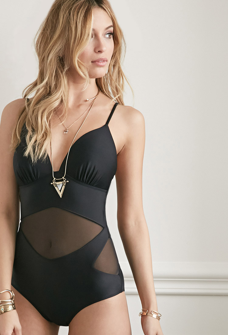 5dd6756c29651 Forever 21 Molded Mesh-paneled One-piece in Black - Lyst