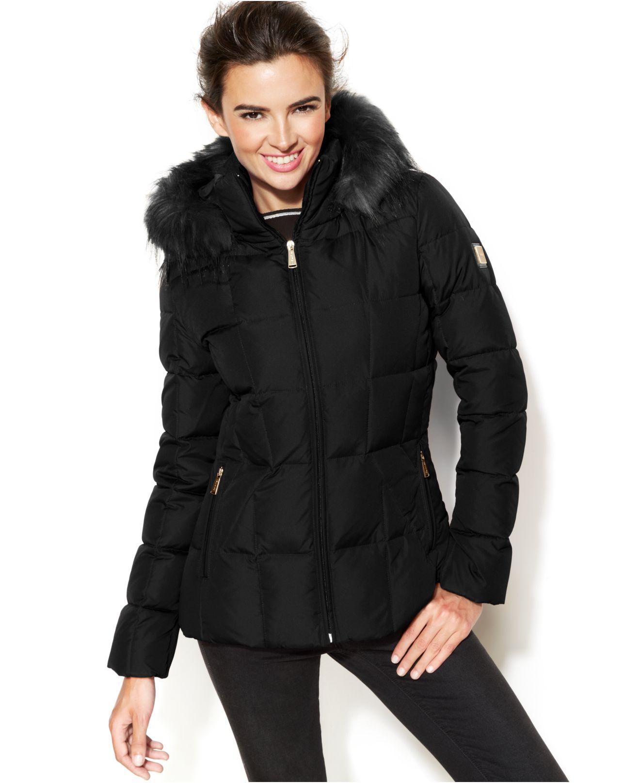 f5d8f0306 Calvin Klein Black Faux-Fur-Trim Hooded Puffer Down Coat