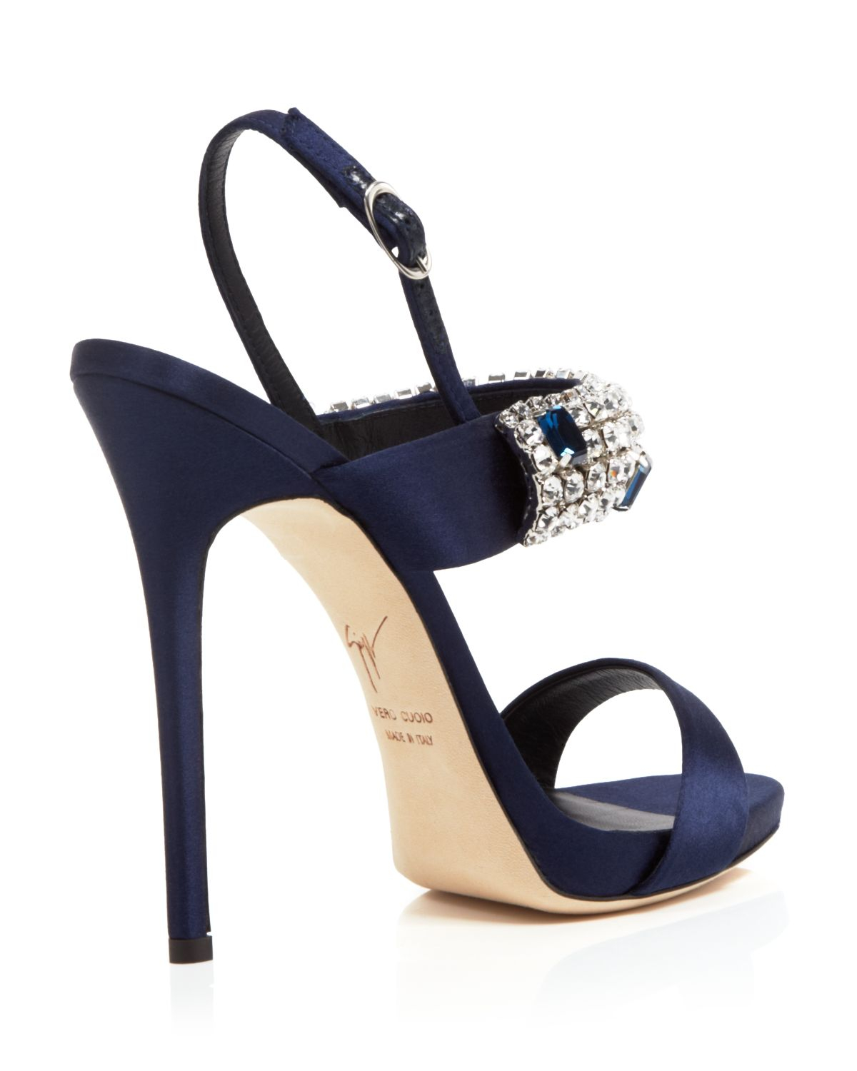Navy Blue Strappy High Heels