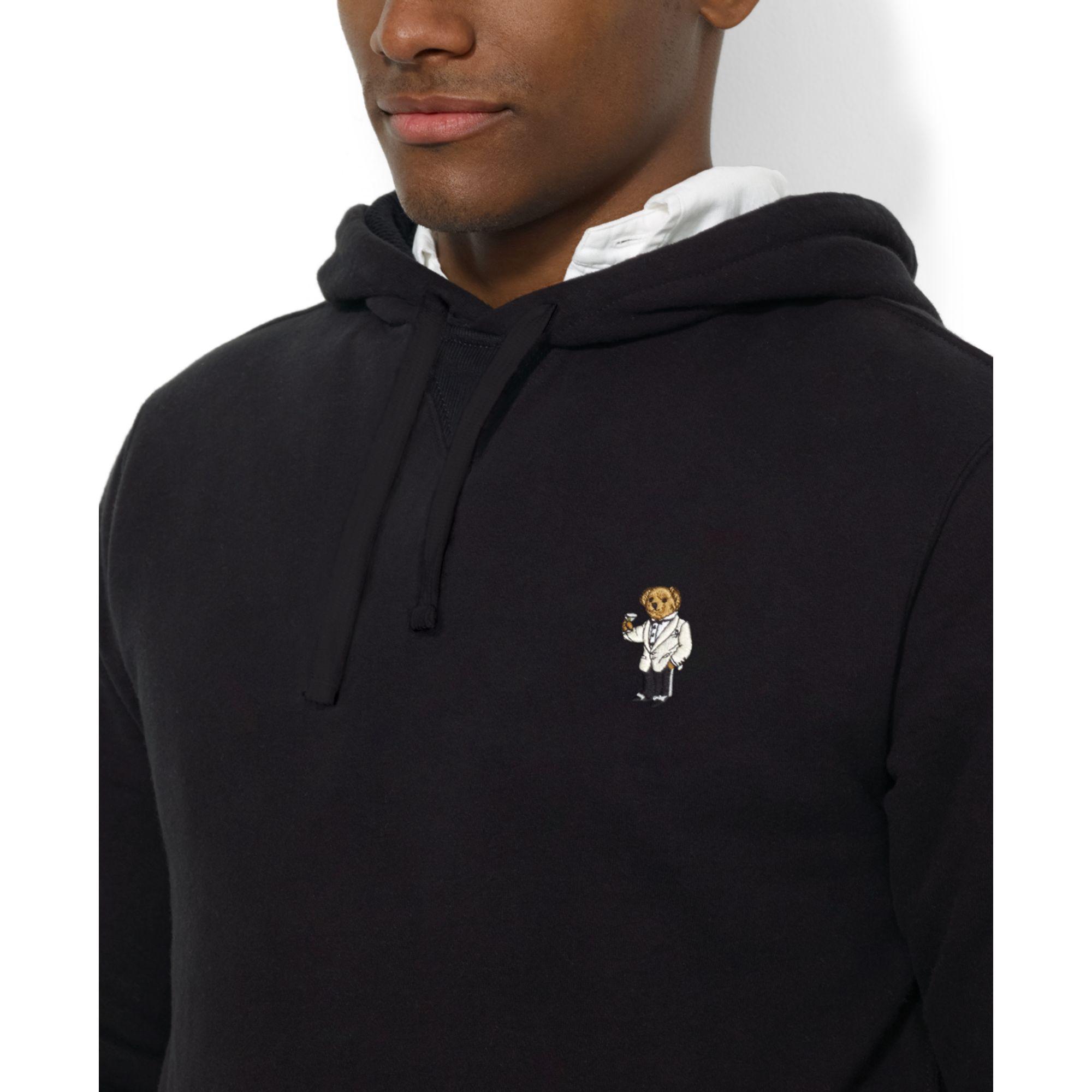 84a7bd042 Ralph Lauren Polo Bear Fleece Pullover Hoodie in Black for Men - Lyst