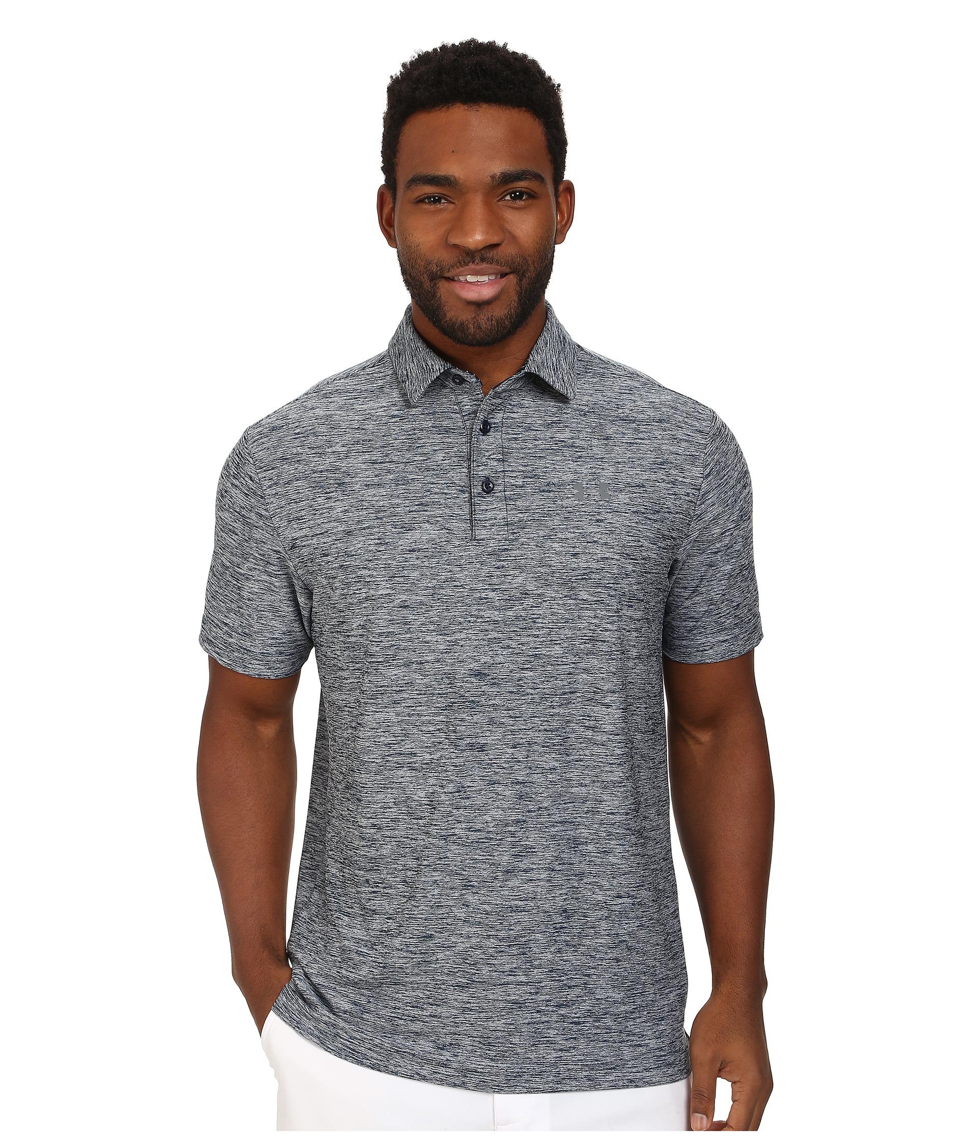 Under armour golf heather playoff polo shirt in gray for for Gray under armour shirt