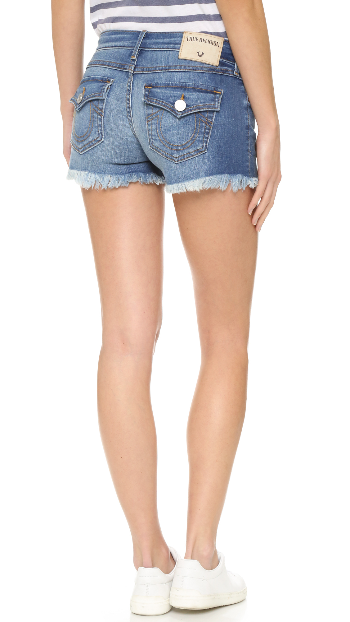 fc9437978 True Religion Keira Low Rise Shorts in Blue - Lyst