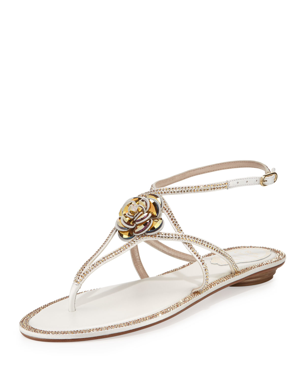 5c6e4949ec95f4 Lyst - Rene Caovilla Floral Crystal-Embellished Sandals in White