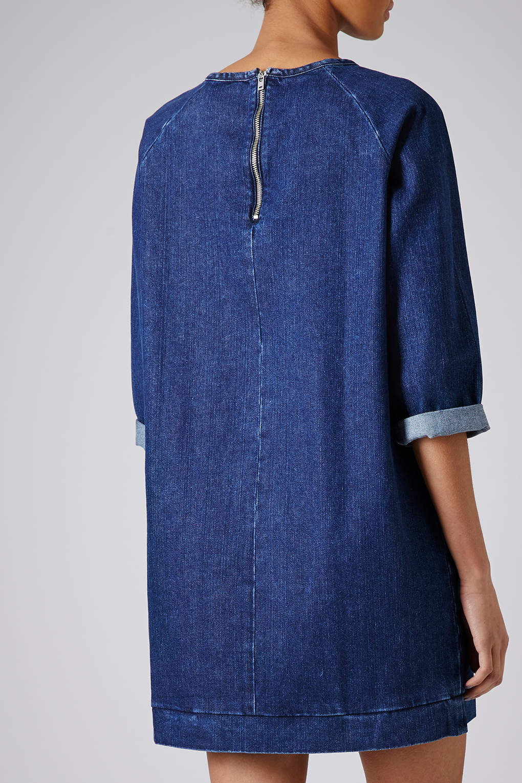 Topshop moto denim jumper dress in blue lyst for Womens denim shirts topshop
