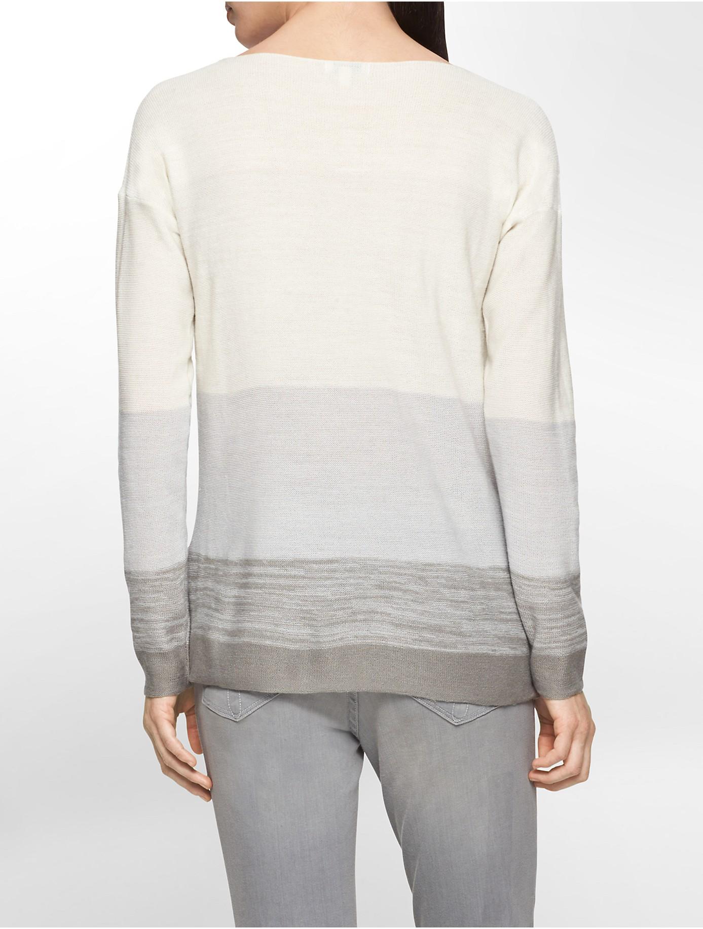 calvin klein jeans lightweight striped boatneck sweater in. Black Bedroom Furniture Sets. Home Design Ideas