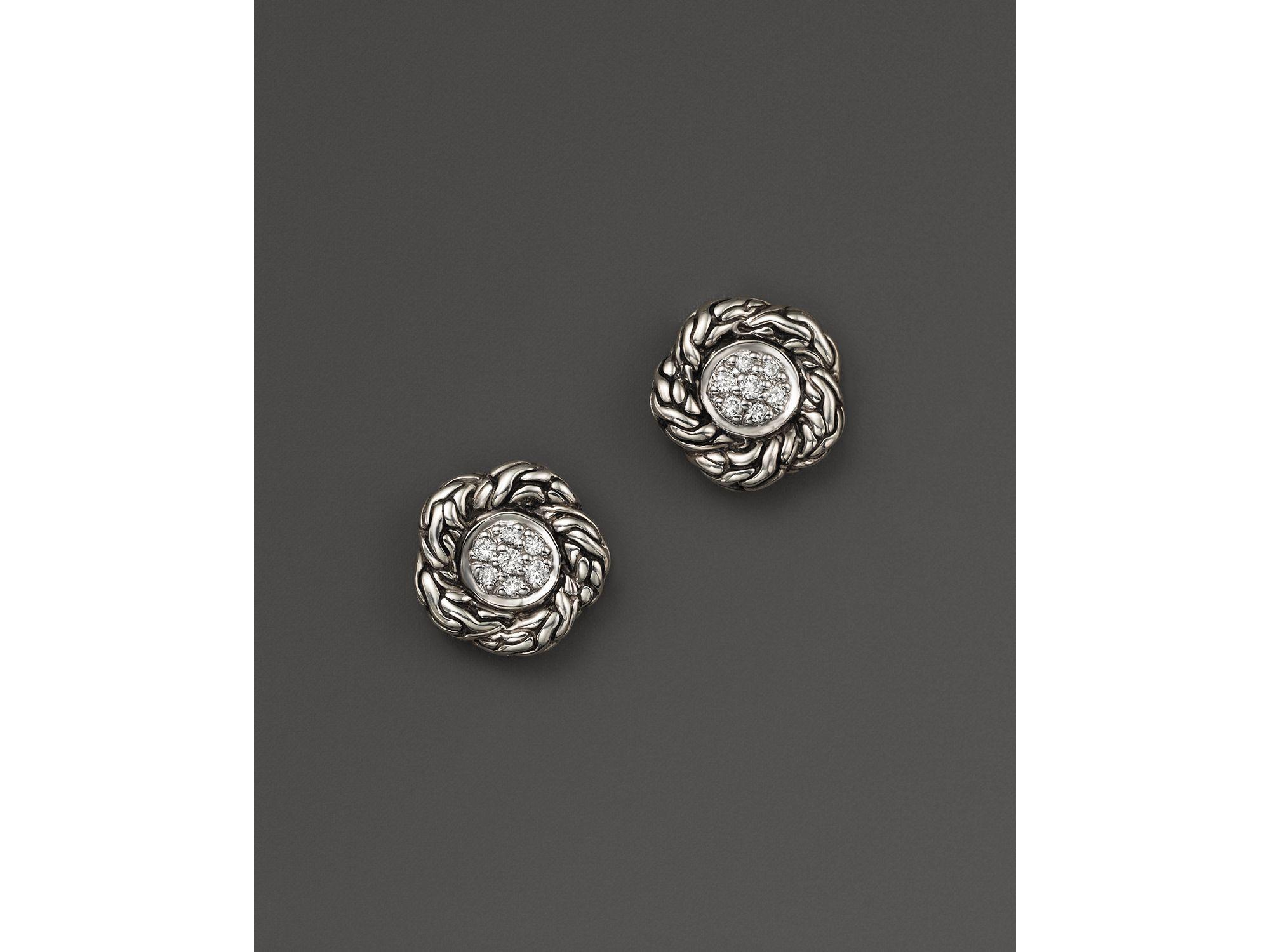 dab40ddfecfb2 John Hardy Metallic Sterling Silver Classic Chain Pavé Diamond Small Stud  Earrings