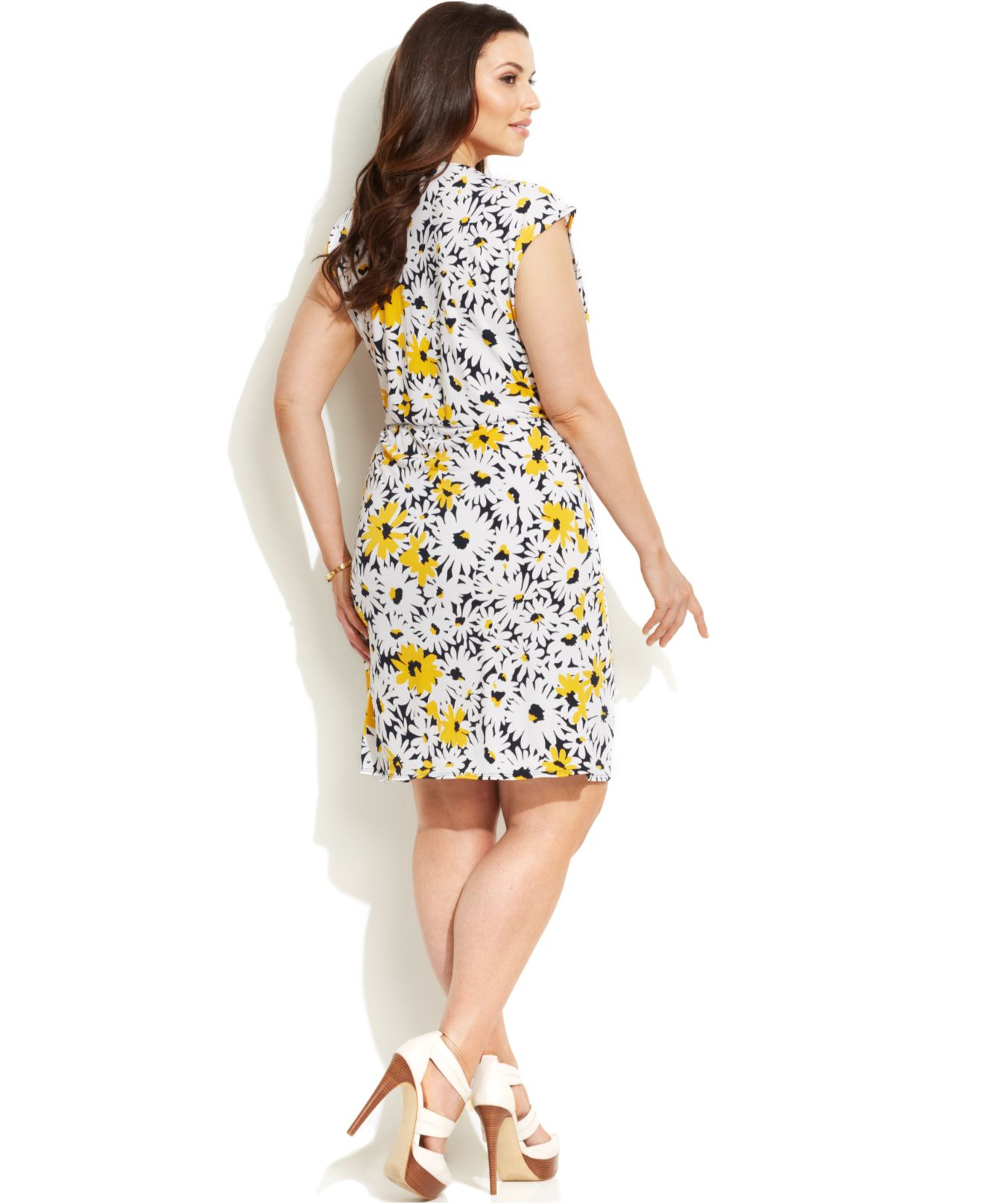 Lyst Michael Kors Michael Plus Size Printed Faux Wrap Dress In Yellow