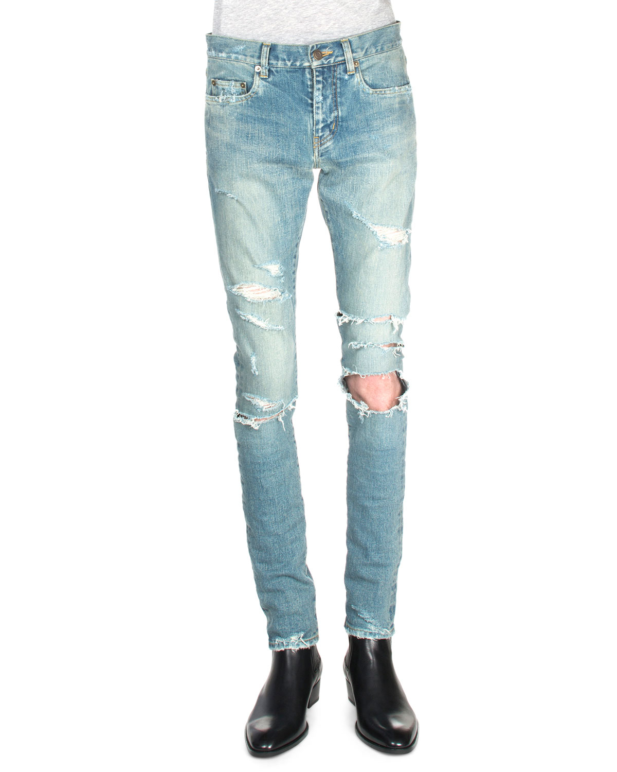 distressed slim fit jeans - Blue Saint Laurent EYRWonVLq