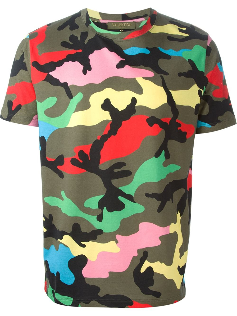 valentino rockstud back camouflage print t shirt in green