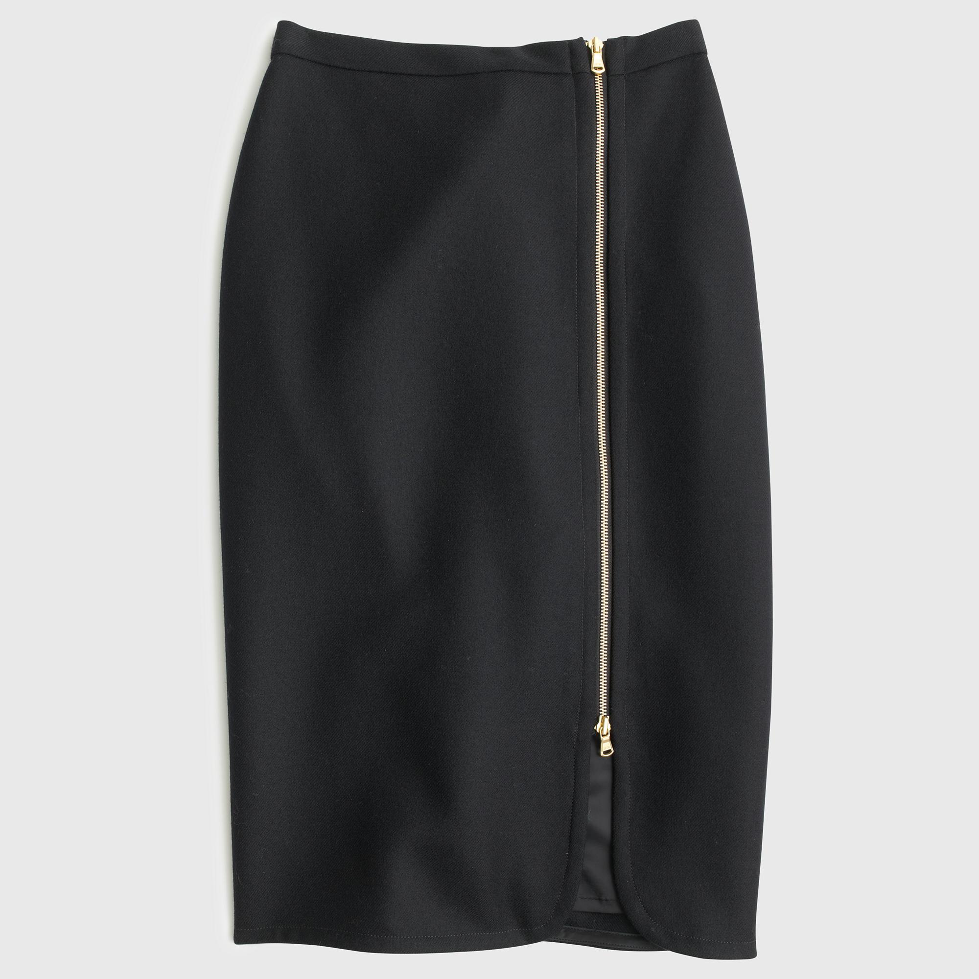 j crew wool zip pencil skirt in black lyst