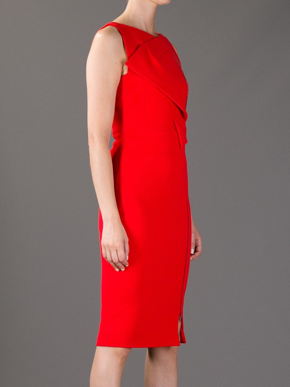 Red Knee Length Dress Antonio Berardi