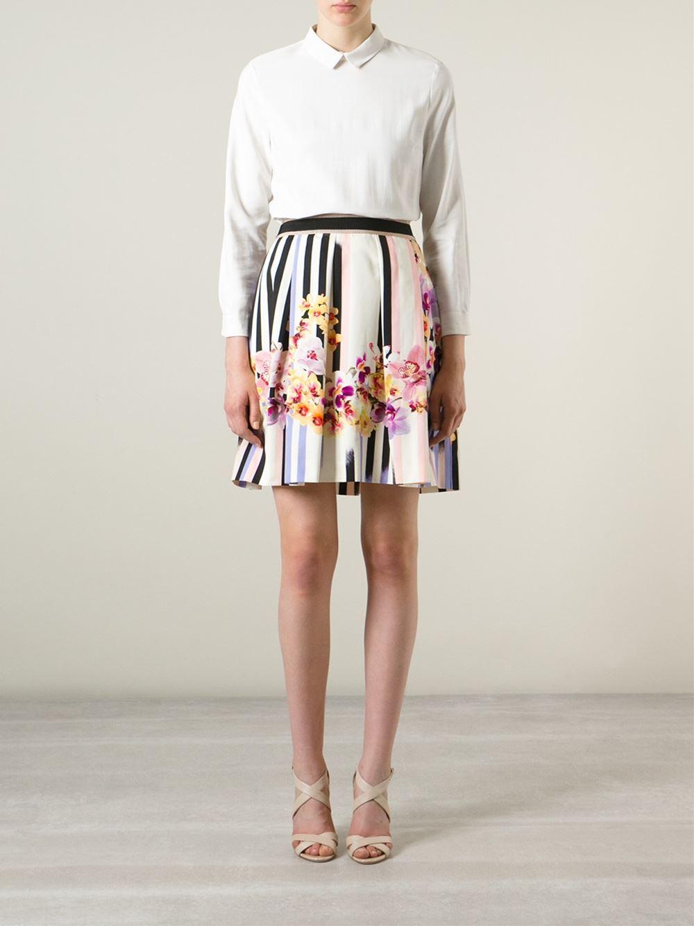 Alberta Ferretti Striped Floral A-Line Skirt