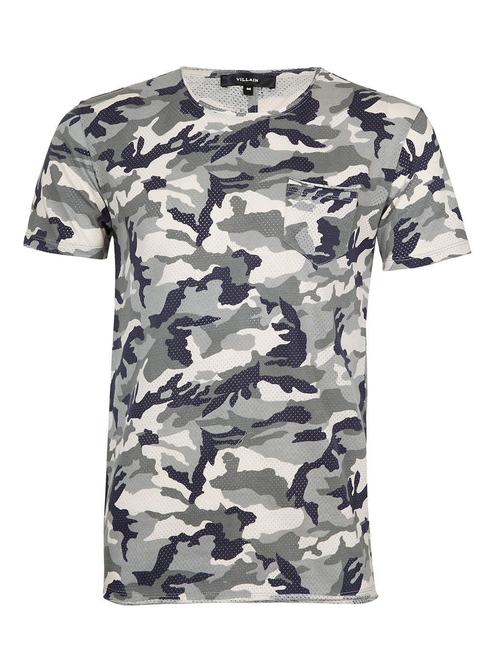 Villain perforated camo print t shirt in gray for men for Camo print t shirt