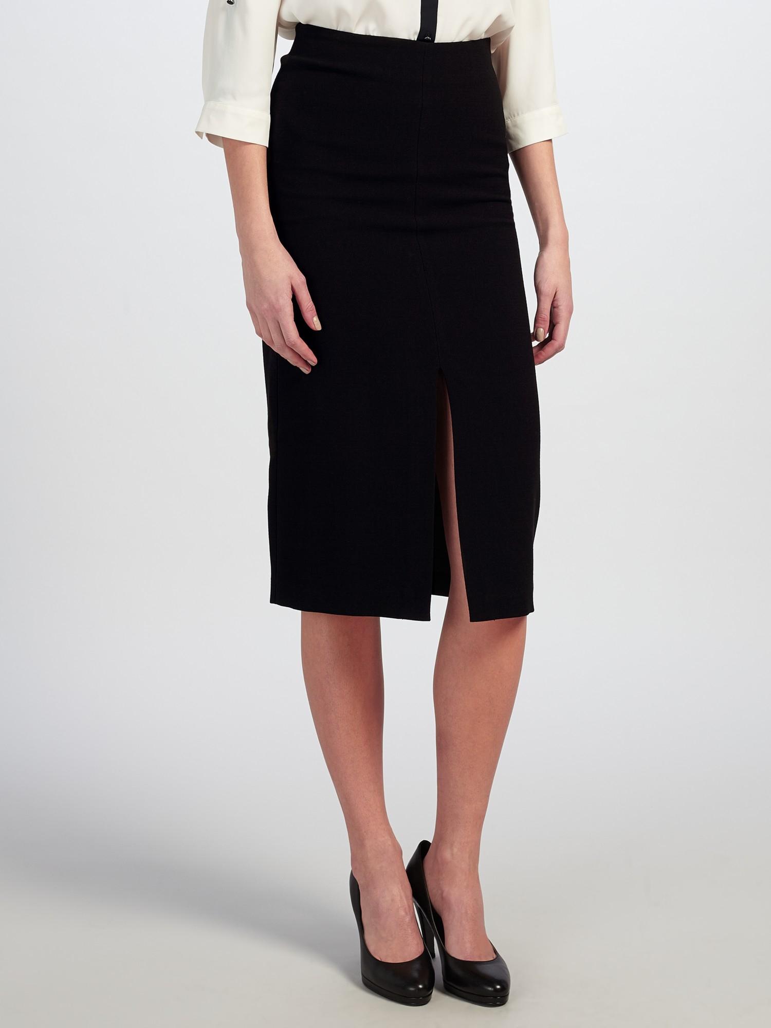 selected soma midi split skirt in black lyst
