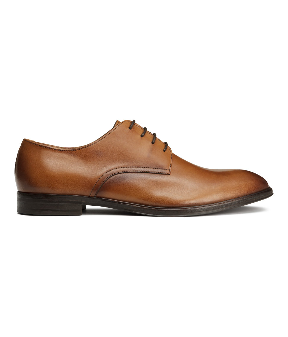 h m leather derby shoes in brown for lyst
