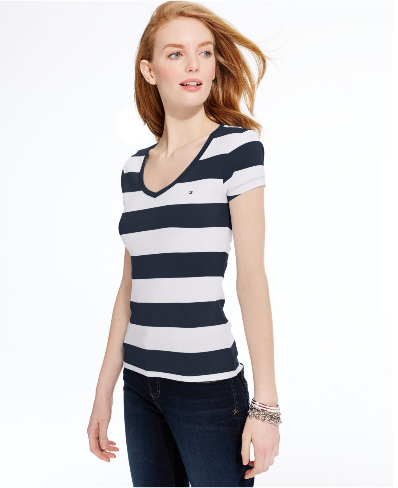 8f944b45827 Tommy Hilfiger Rugby Striped V-neck Tee in Blue - Lyst