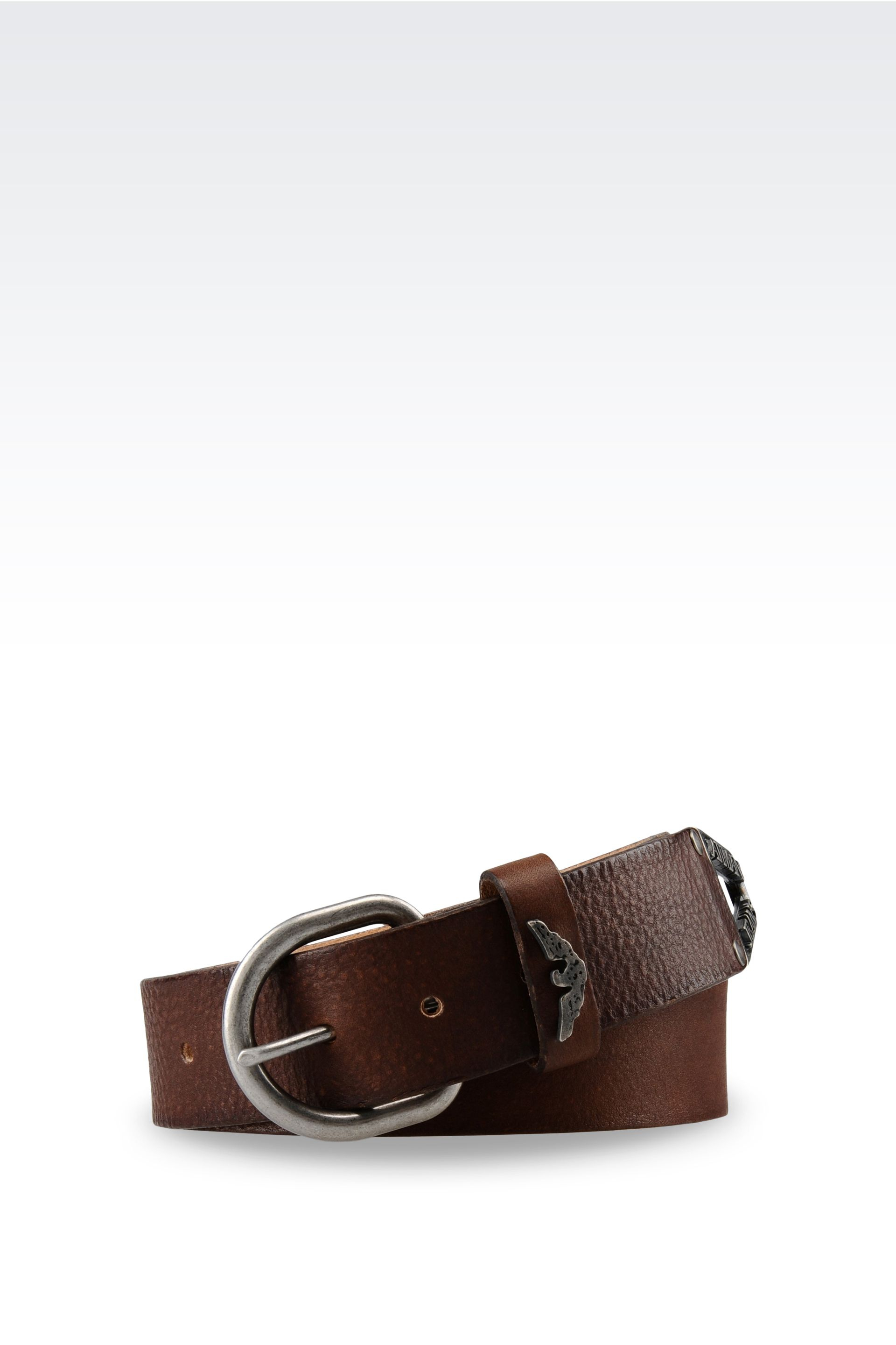 armani leather belt in brown for cocoa lyst