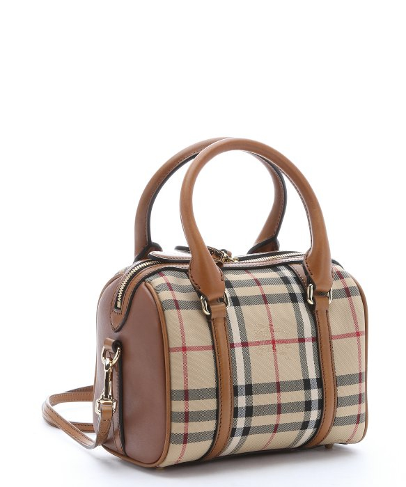 Lyst Burberry Honey House Check Small Alchester Convertible Bowling Bag In Natural