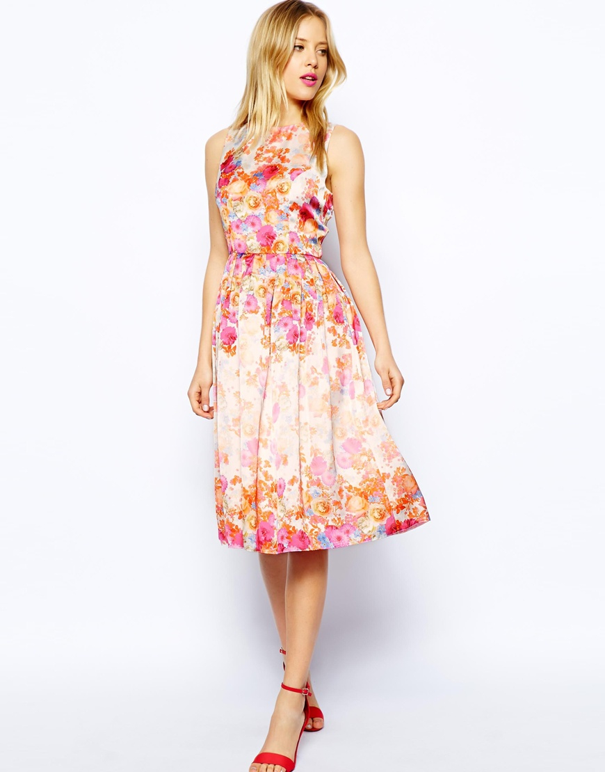 Asos Floral Prom Dress in Pink | Lyst