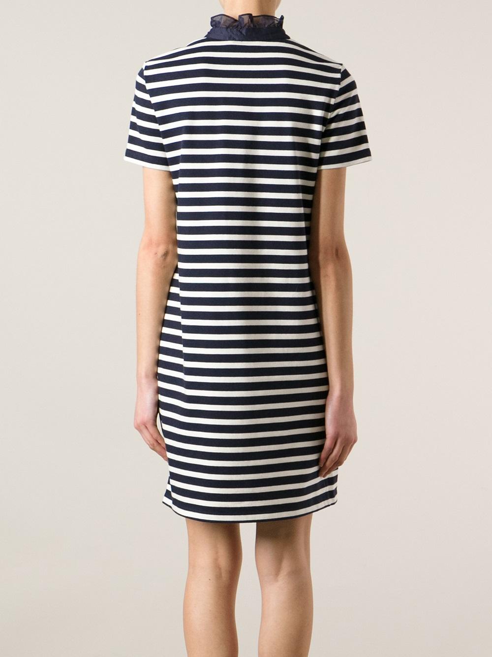 Lyst tory burch striped tshirt dress in blue for Tory burch t shirt