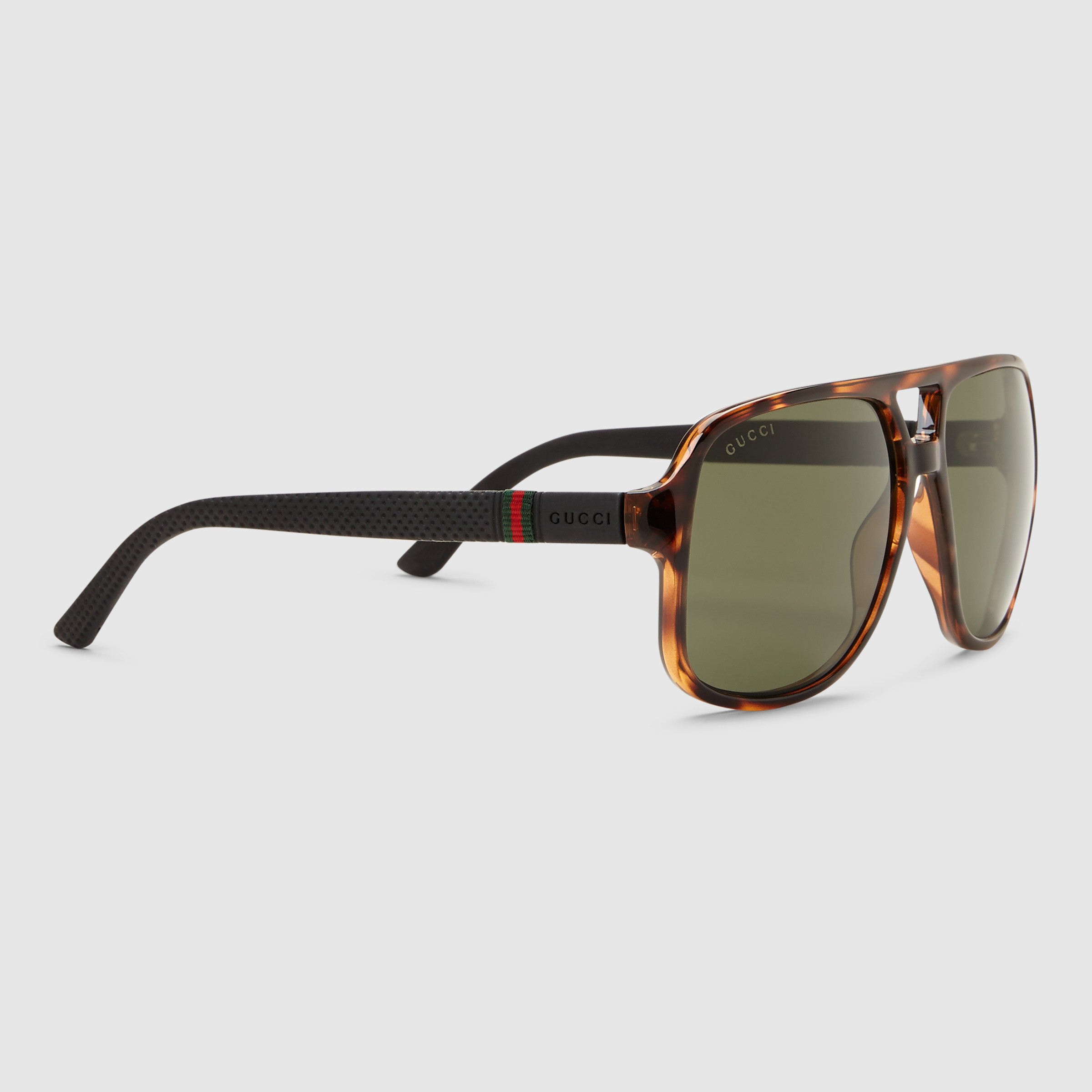 gucci rectangular frame sunglasses with web in black for