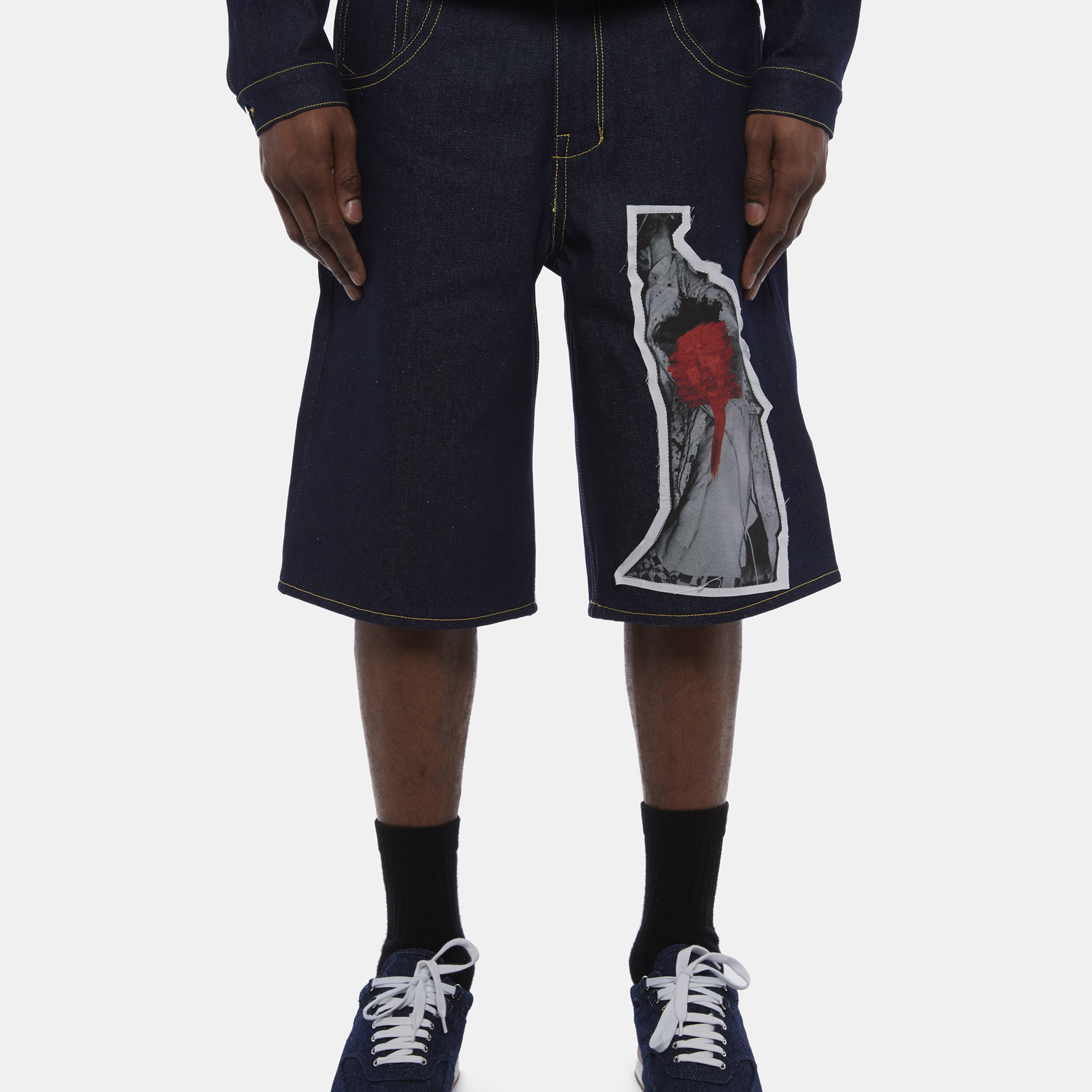 Chris With Male Lyst Shorts O'carroll Poster In Black Denim Print QsdxthrCB